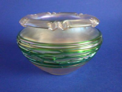 Richardson's Art Nouveau Iridescent Glass Flower Bowl with applied Green Threads c1900